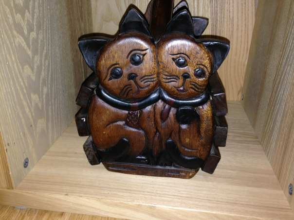 These sad looking pusses live in a cupboard. We'd look sad if we had to live in a cupboard :-(